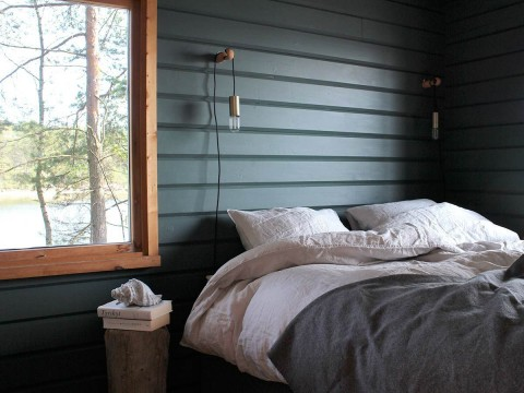 Painted green bedroom wall