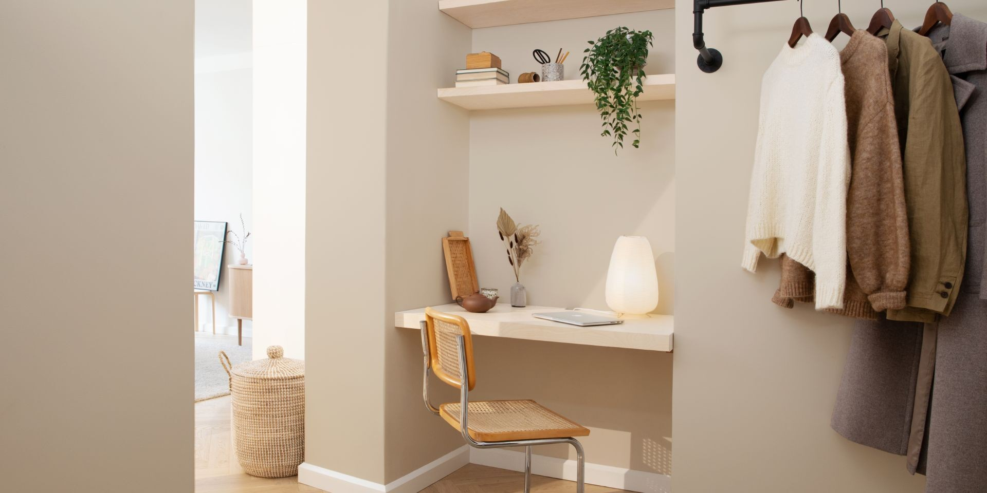 bohemian style home office with beige colour X459