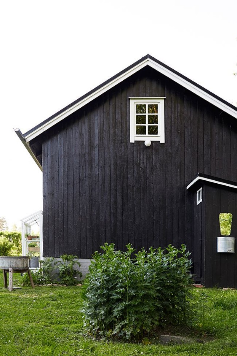 painting barn into black