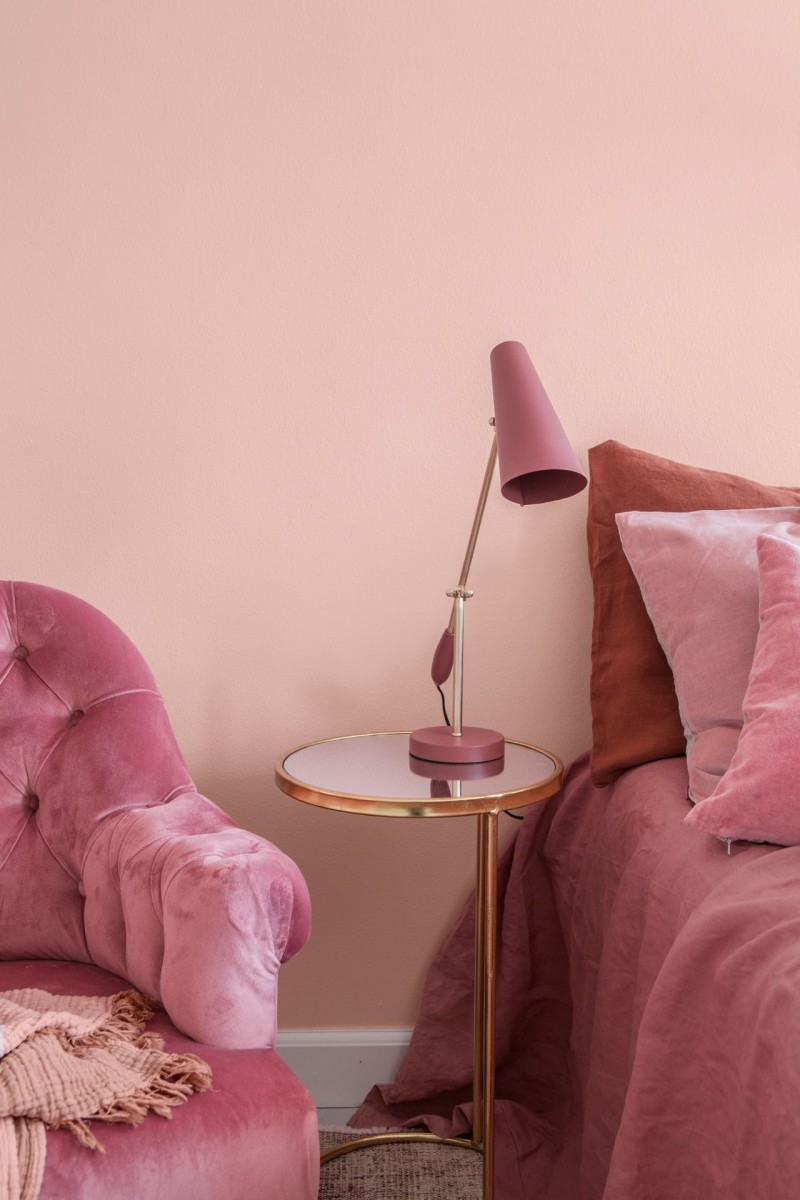 pink flamingo colour wall in bedroom